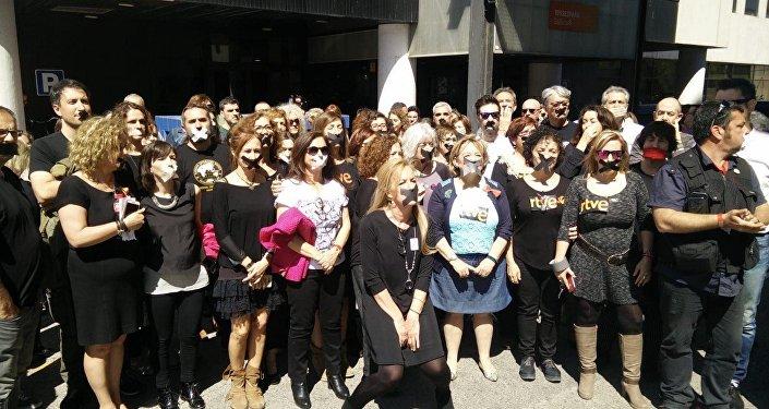 Funcionárias da emissora estatal Corporação de Rádio e Televisão Espanhola (RTVE)