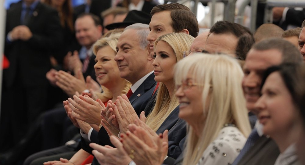 Israel's Prime Minister Benjamin Netanyahu, 2nd left, his wife Sara Netanyahu, left, Senior White House Advisor Jared Kushner, 3rd left, US President's daughter Ivanka Trump, center, US Treasury Secretary Steve Mnuchin, attend the opening ceremony of the new U.S. embassy in Jerusalem, Monday, May 14, 2018