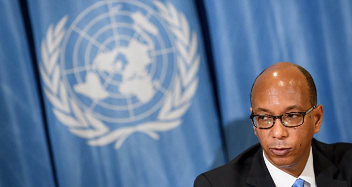 Embaixador americano Robert Wood, representante permante dos EUA na Conferência sobre Desarmamento, durante coletiva de imprensa nos escritórios das Nações Unidas em Genebra; 19 de abril de 2018