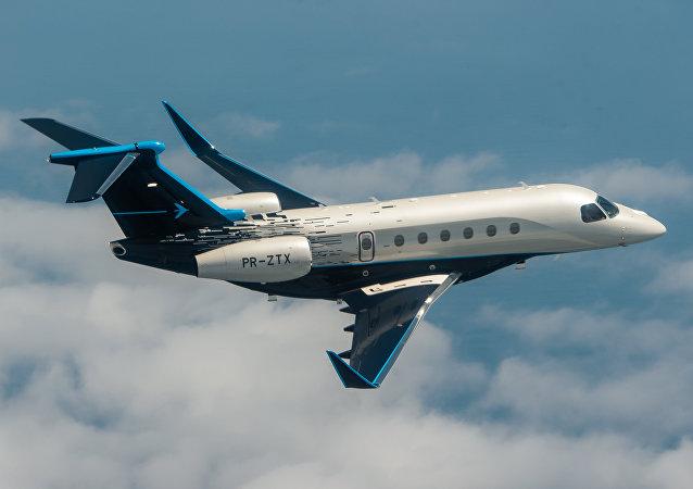 O novo Praetor 600 da Embraer pode transportar quatro pessoas entre Londres e Nova York sem escalas