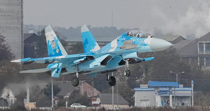 Su-27 ucraniano durante manobras militares Clear Sky 2018