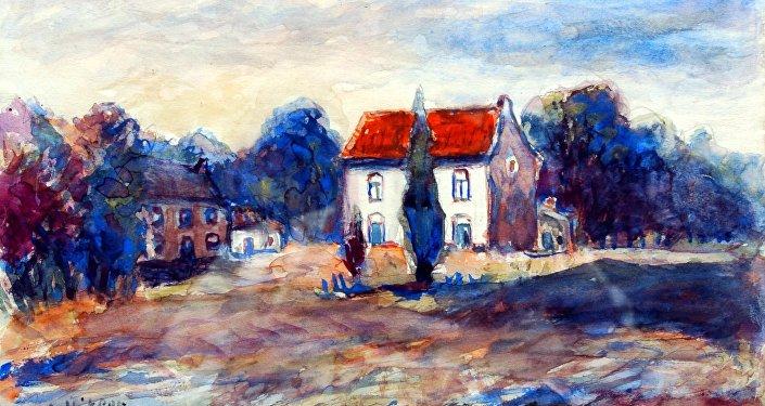 Pintura atribuída a Adolf Hitler e leiloada no Reino Unido há alguns anos, sob o título Cabana com telhado vermelho