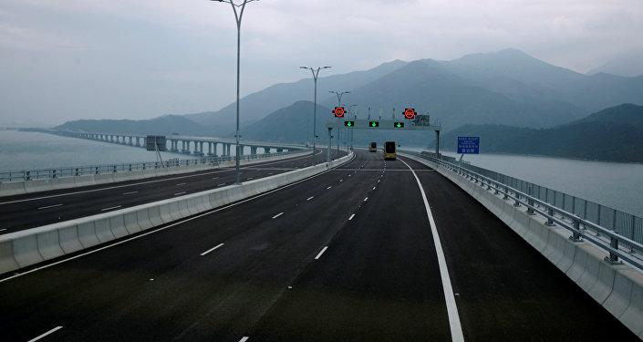 Ponte Hong Kong-Zhuhai-Macau vista de Hong Kong