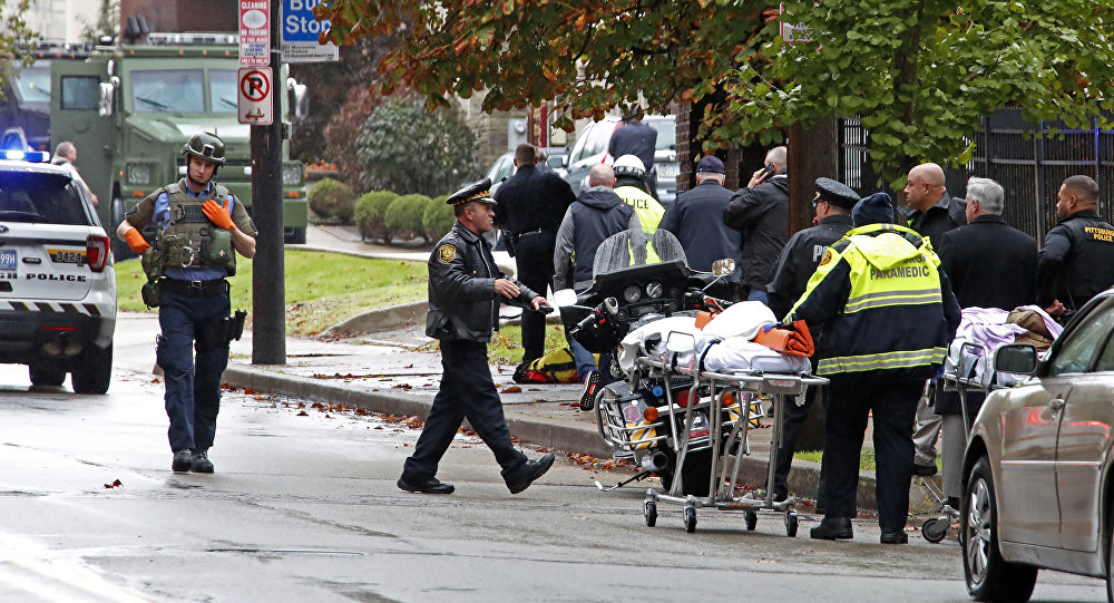 First responders surround the Tree of Life Synagogue