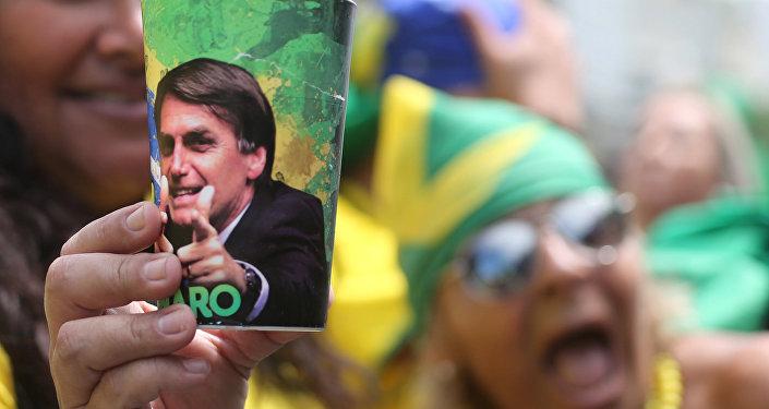 Apoiante de Jair Bolsonaro (PSL), no Rio de Janeiro, em 21 de outubro de 2018