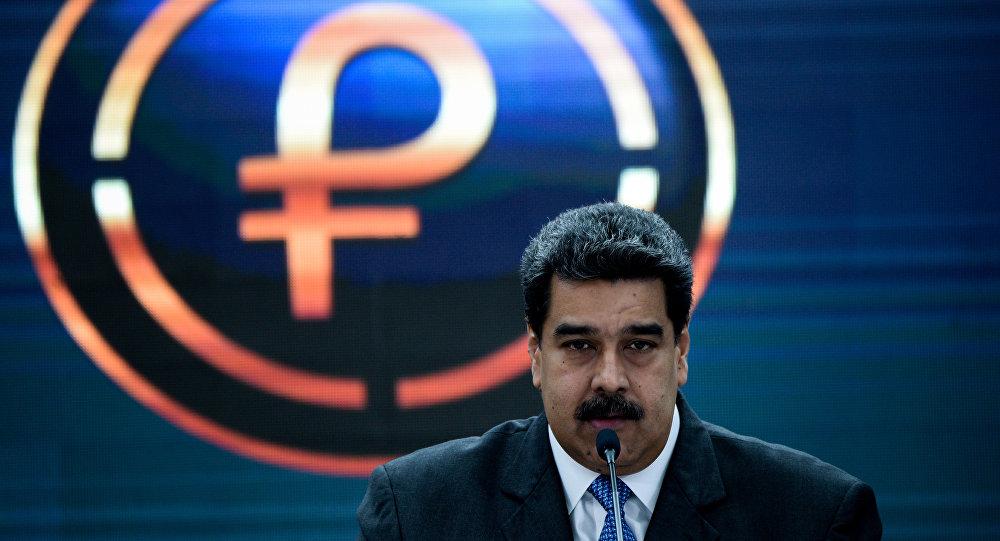 Presidente de Venezuela, Nicolás Maduro, durante discurso sobre petro