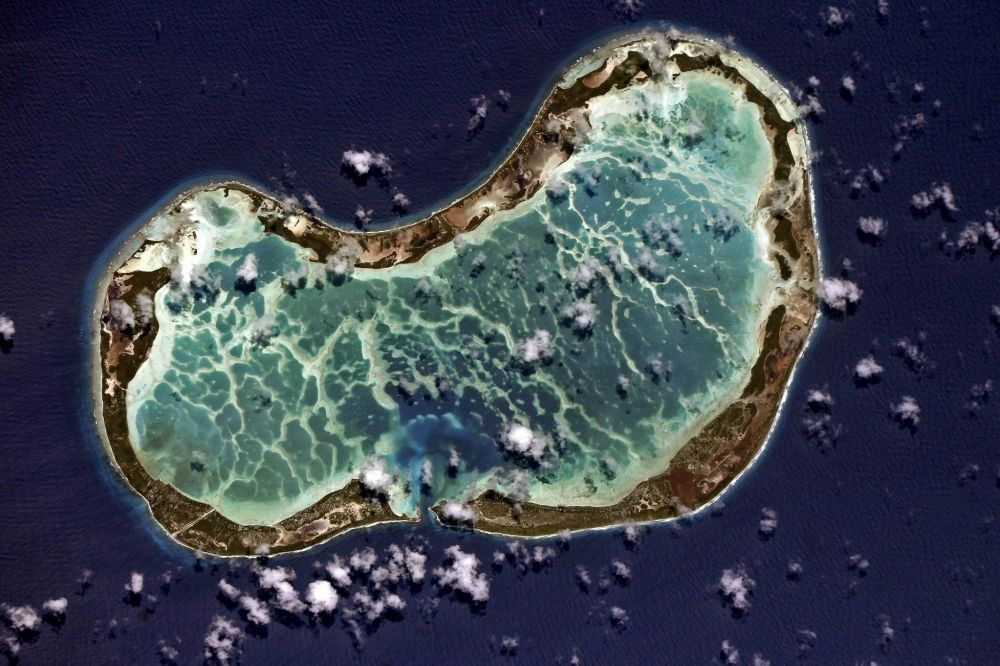Atol Tabuaeran que faz parte das Ilhas Line do oceano Pacífico