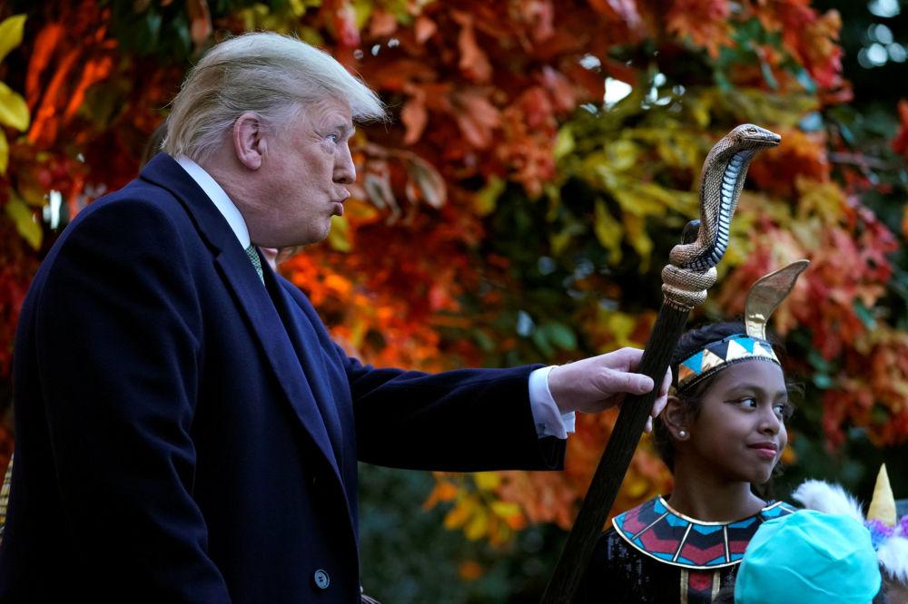 Presidente dos EUA, Donald Trump, celebra Halloween na Casa Branca, 30 de outubro de 2018