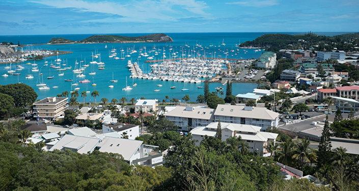 Vista geral da baía de Noumea, a capital da Nova Caledônia, um território francês no sul do Pacífico.