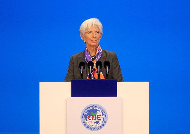 Diretora-gerente do Fundo Monetário Internacional (FMI), Christine Lagarde, falando na cerimônia de abertura da primeira Exposição Internacional de Importação da China (CIIE), em Xangai