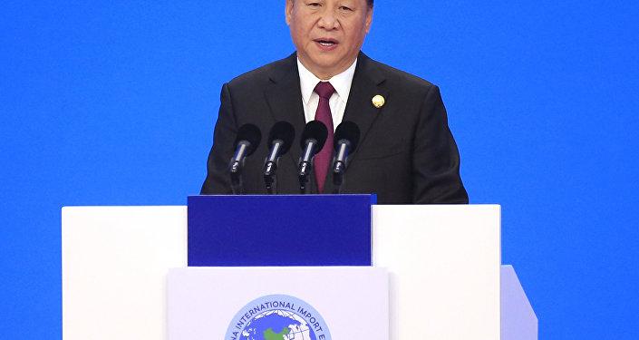 Líder chinês Xi Jinping durante a inauguração da Exposição Internacional de Importações da China em Xangai