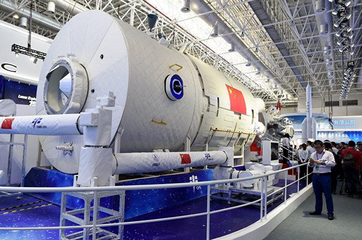 Réplica parcial da estação espacial chinesa no salão aeroespacial Airshow China 2018