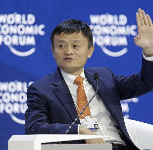 O fundador do grupo Alibaba Jack Ma no Fórum Mundial de Davos.