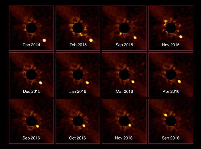 Beta Pictoris b orbitando em torno de sua estrela