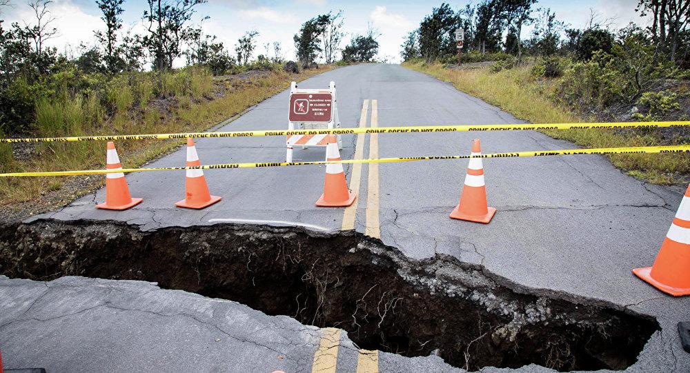 Foto mostra uma grande cratera no Parque Nacional dos Vulcões do Havaí, 17 de agosto de 2018 (imagem referencial)