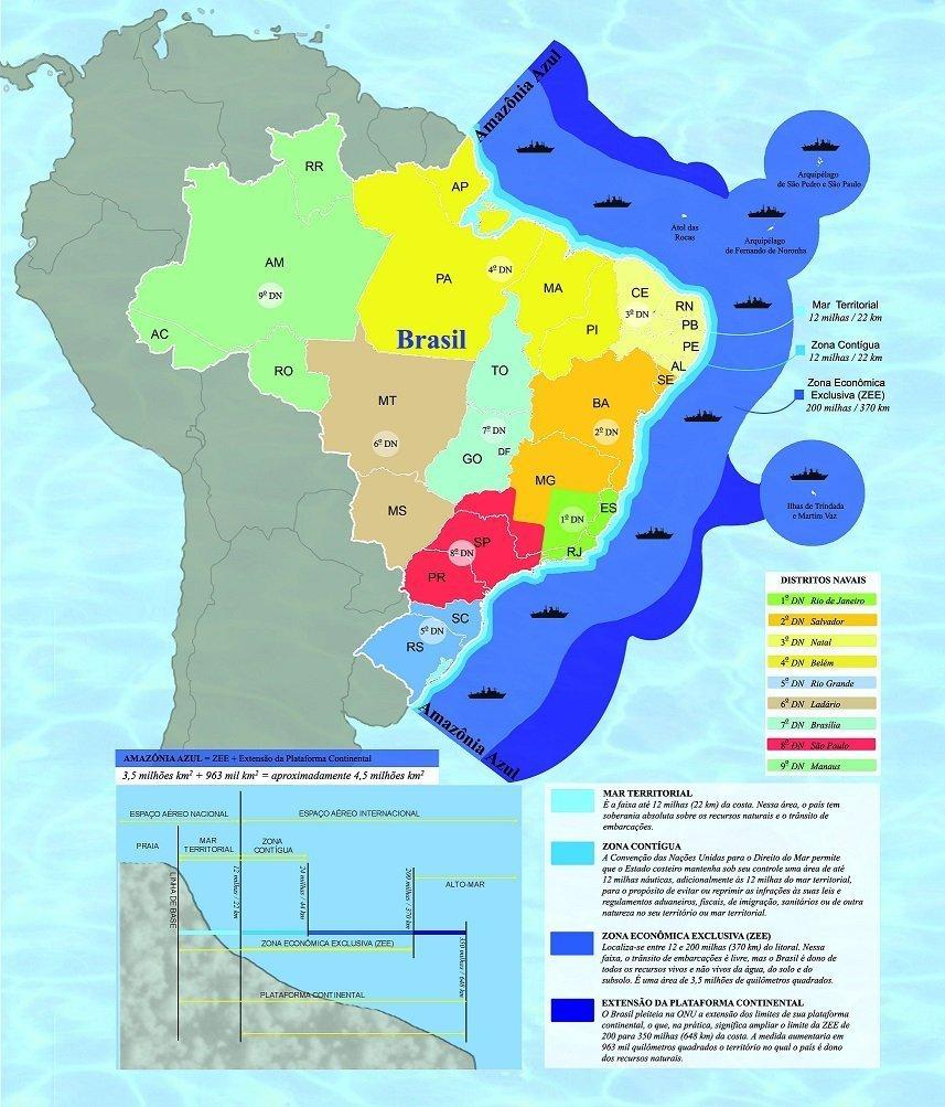 Infográfico da Marinha do Brasil mostra a dimensão da chamada Amazônia Azul.
