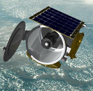Apresentação artística do satélite miniaturizado Raytheon na órbita