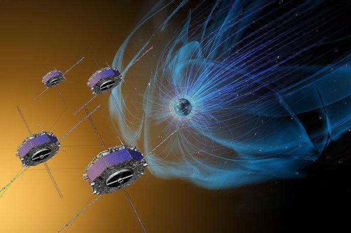 Quatro naves espaciais da NASA efetuando missão MMS (apresentação artística)