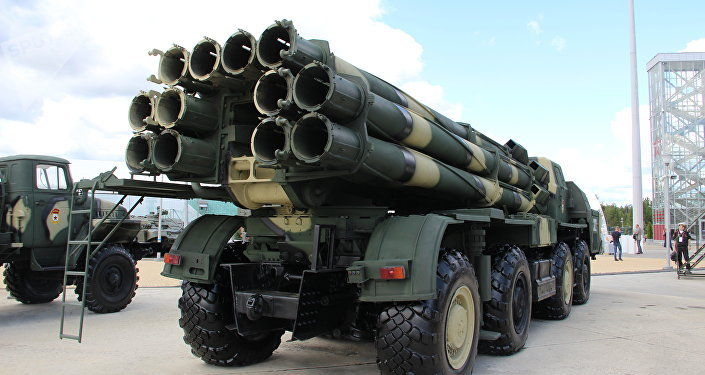 Lança-foguetes russo BM-30 Smerch é mostrado durante o fórum militar EXÉRCITO 2018
