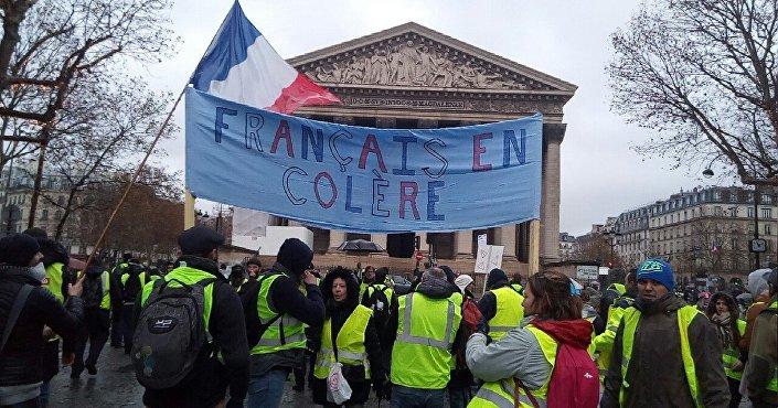 Manifestação do movimento coletes amarelos em Paris, em 1 de dezembro