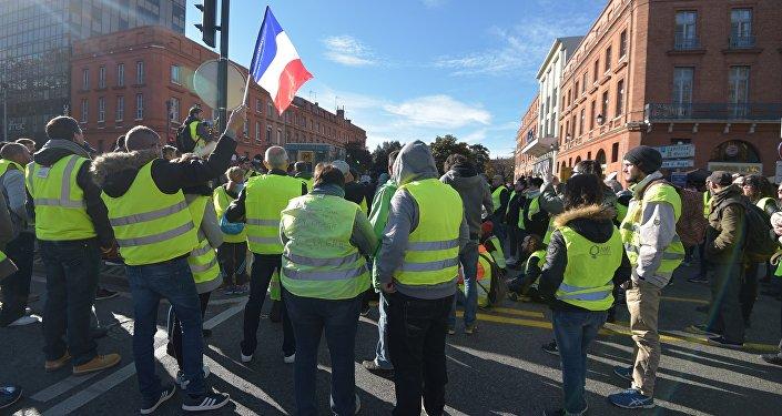 Manifestação dos chamados coletes amarelos em Toulouse, Occitânia, sudeste da França