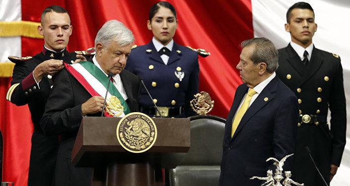 Andrés Manuel López Obrador em sua cerimônia de posse.