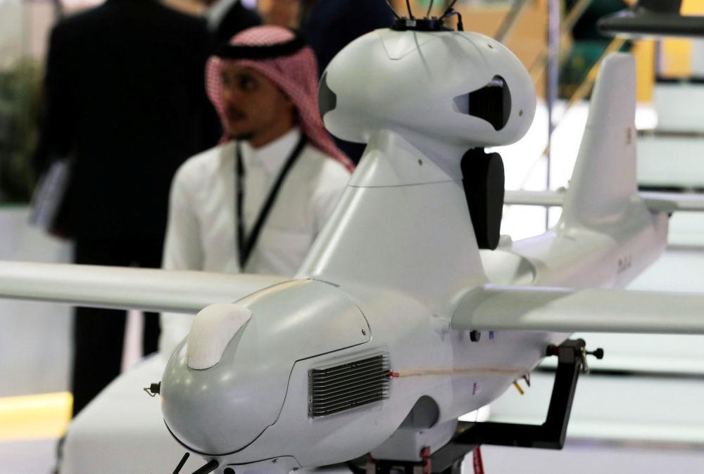 Apresentação de um drone na Feira Internacional de Defesa EDEX 2018 no Egito