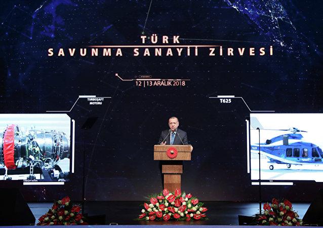 Presidente turco, Recep Tayyip Erdogan, durante a reunião da indústria de defesa turca