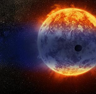 Pequeno Netuno quente perto da estrela enorme (ilustração artística)