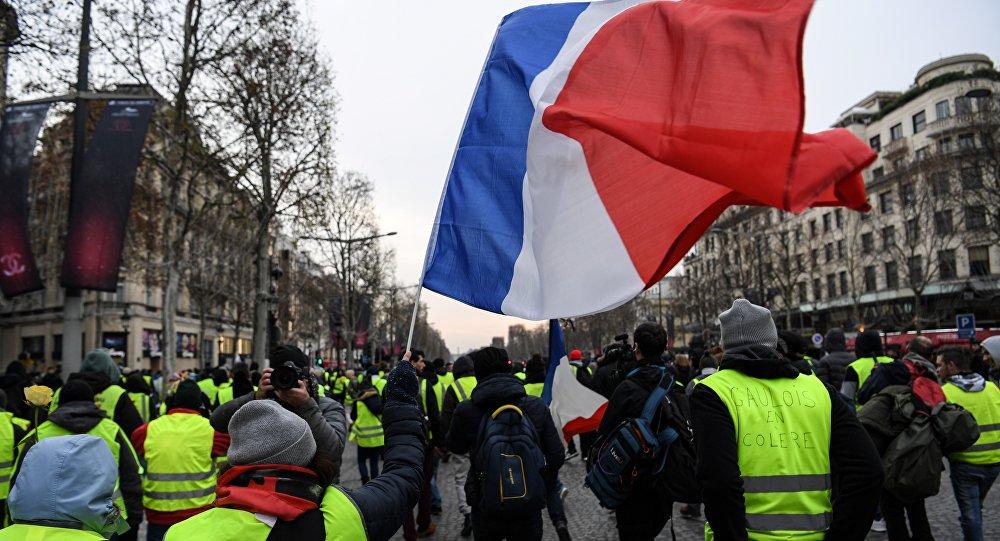 Protestos de coletes amarelos em Paris, França