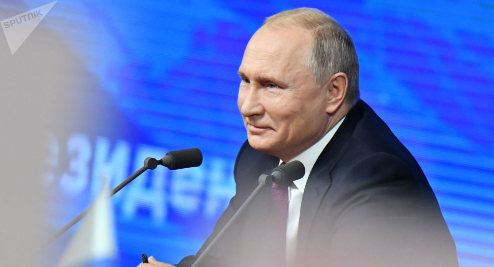Presidente russo, Vladimir Putin, durante a coletiva de imprensa anual, 20 de dezembro de 2018