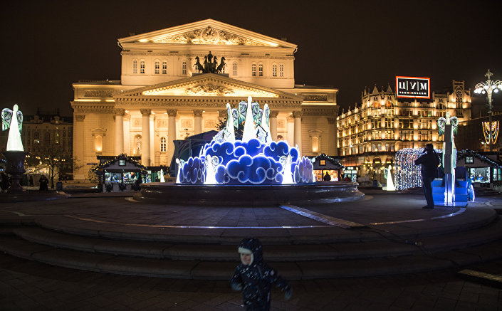 Instalações natalinas na praça Teatralnaya, Moscou