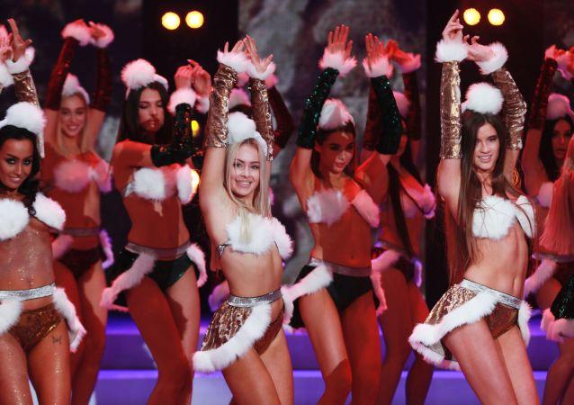 Participantes do concurso de beleza Miss Moscou 2018, Rússia, 24 de dezembro de 2018