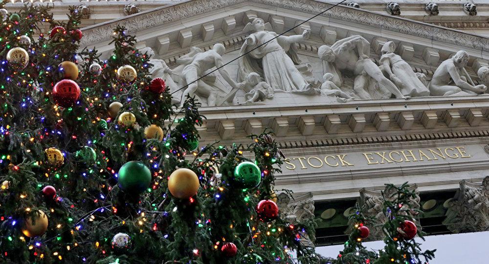 Árvore de Natal perto da Bolsa de Valores de Nova York
