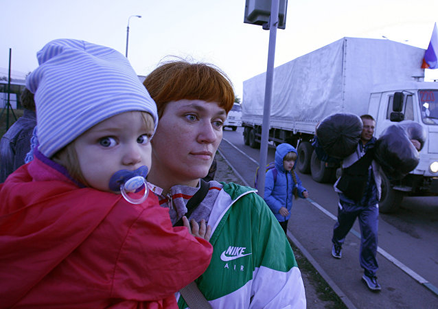 Refugiados ucranianos na fronteira com a Rússia