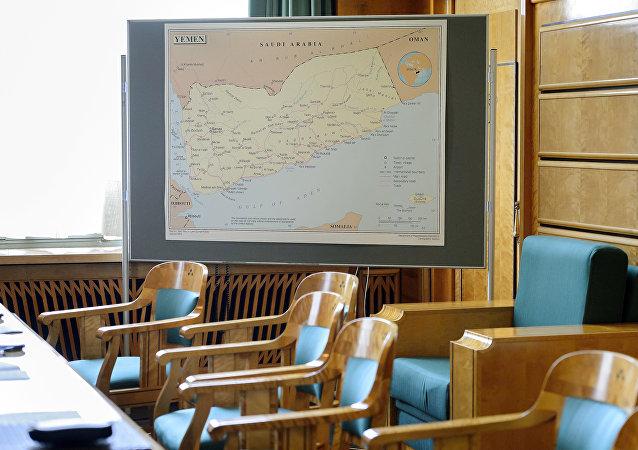 Mapa do Iêmen em uma sala destinada às negociações na sede da ONU em Genebra, em 15 de junho