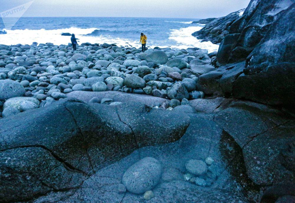 Turistas andando pela costa do mar de Barents, na península de Kola, no extremo norte da Rússia