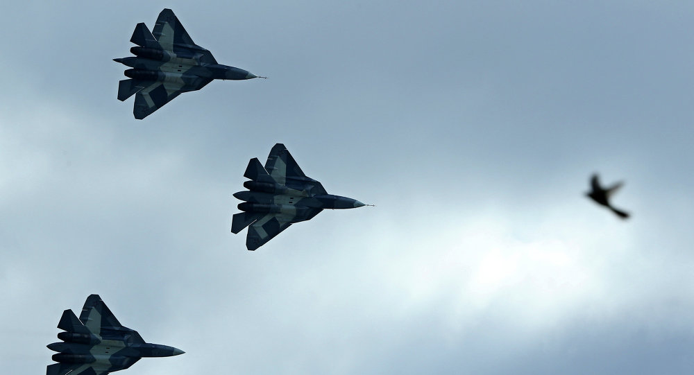 Russia's stealth fighters T-50 perform during the MAKS-2013, the International Aviation and Space Show, in Zhukovsky, outside Moscow, on August 27, 2013