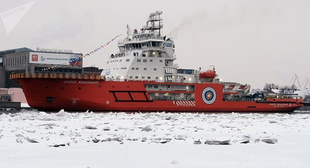 Quebra-gelo russo Andrei Vilkitsky no rio Neva em São Petersburgo, Rússia