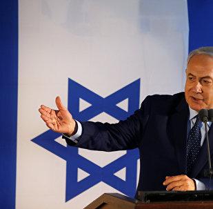 Primeiro-ministro israelense, Benjamin Netanyahu, durante discurso em Tel Aviv, 16 de setembro de 2018