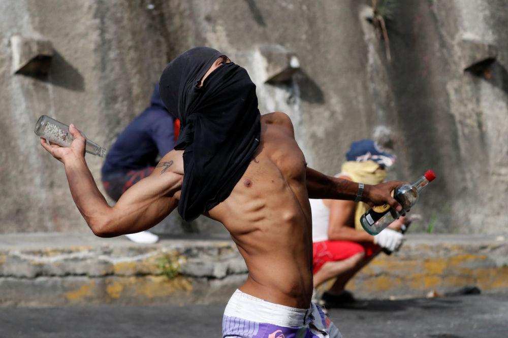 Manifestante em Caracas, Venezuela