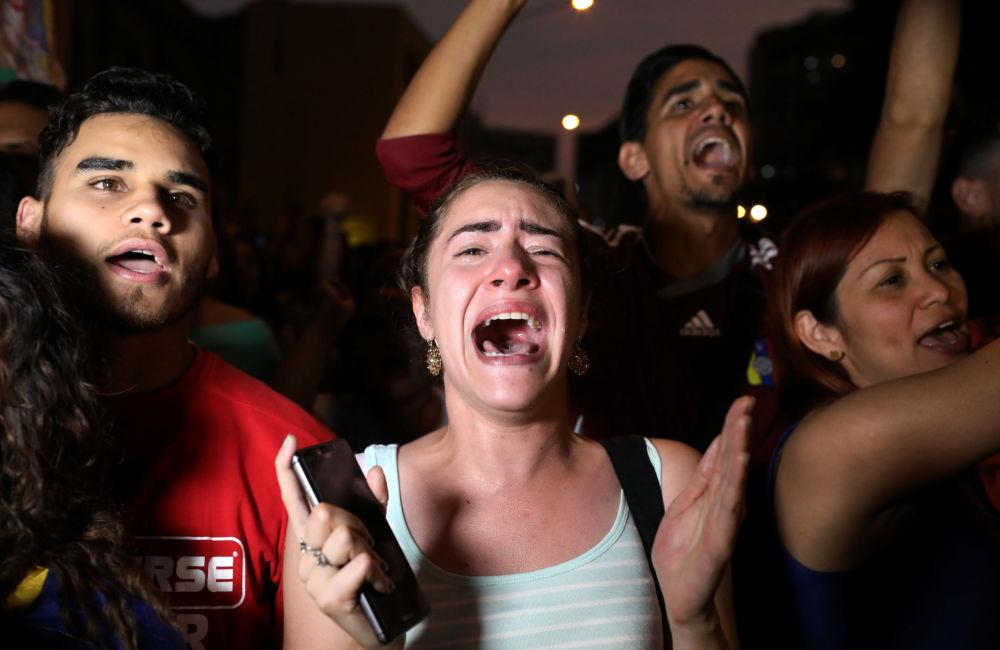 Manifestação em apoio ao líder da oposição, Juan Guaidó, na Venezuela