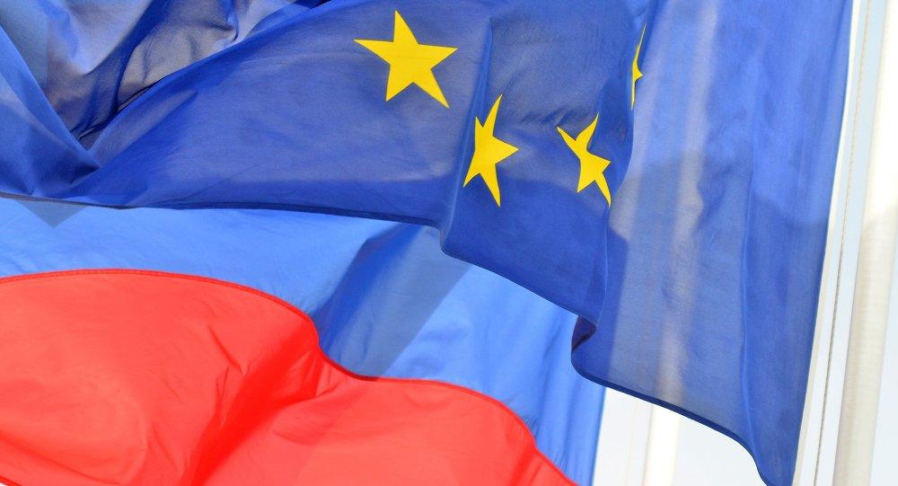 Banderas de la UE y Rusia (archivo)