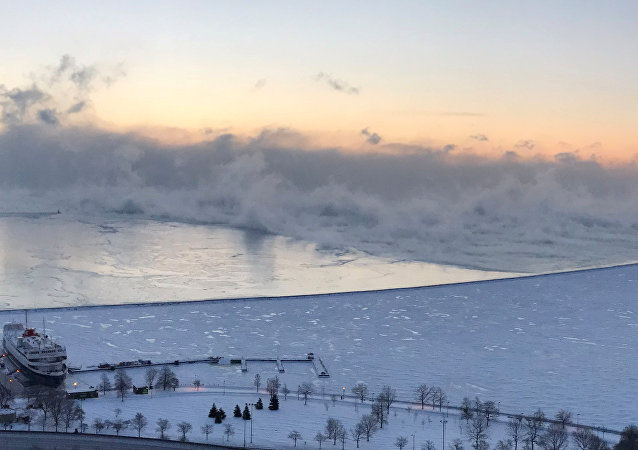 Steam is seen above Lake Michigan during subzero temperatures carried by the polar vortex in Chicago, Illinois, U.S., January 30, 2019, in this picture obtained from social media