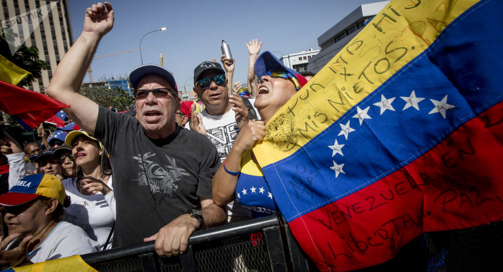 Manifestação em apoio do autoproclamado presidente interino da Venezuela, Juan Guaidó, em Caracas
