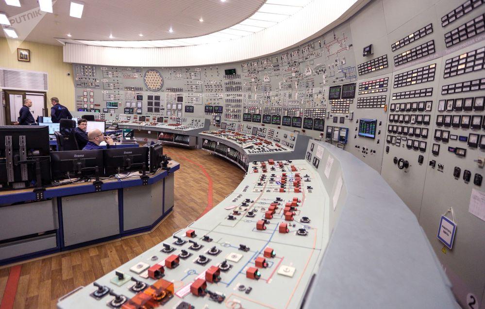 Painel de controle dos reatores da usina nuclear de Kola, localizada no Extremo Norte da Rússia
