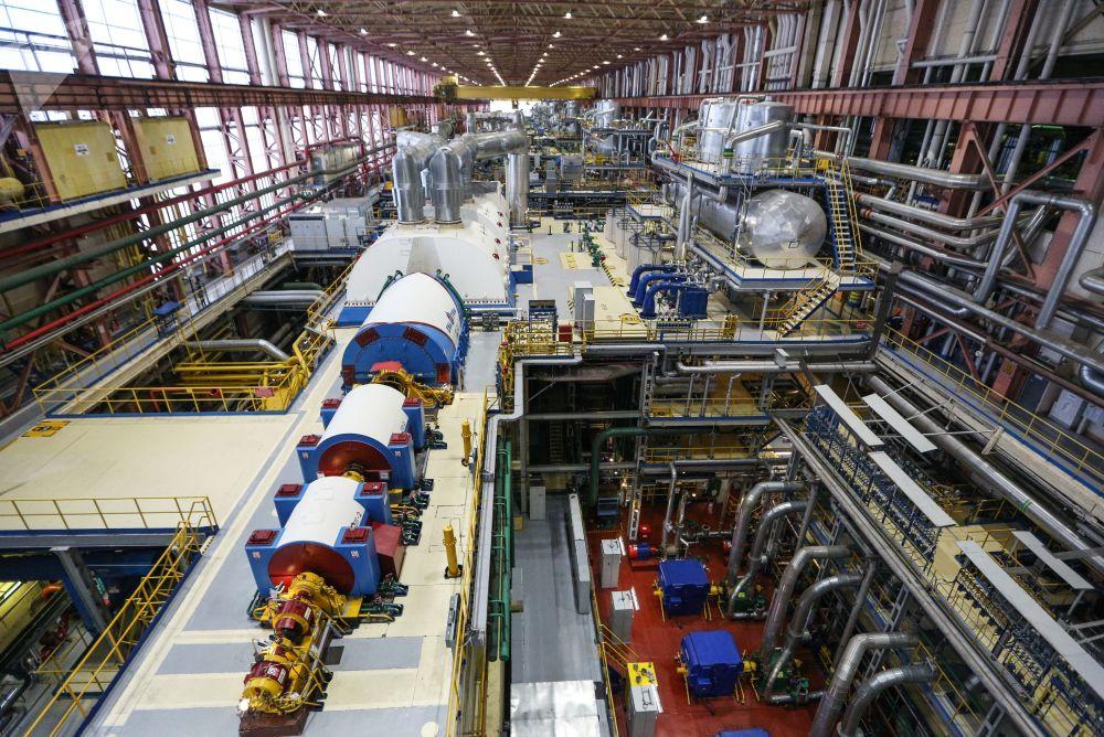 Sala de máquinas da usina nuclear de Kola, situada na região de Murmansk, no noroeste da Rússia