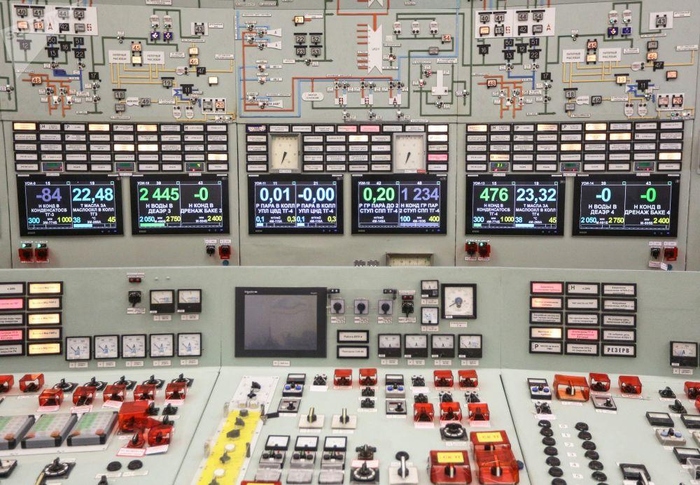 Imagem mostra painel de controle dos reatores da usina nuclear de Kola, localizada na região de Murmansk (Rússia)