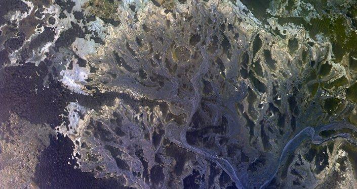 O delta de um rio extinto na cratera Eberswalde, em Marte