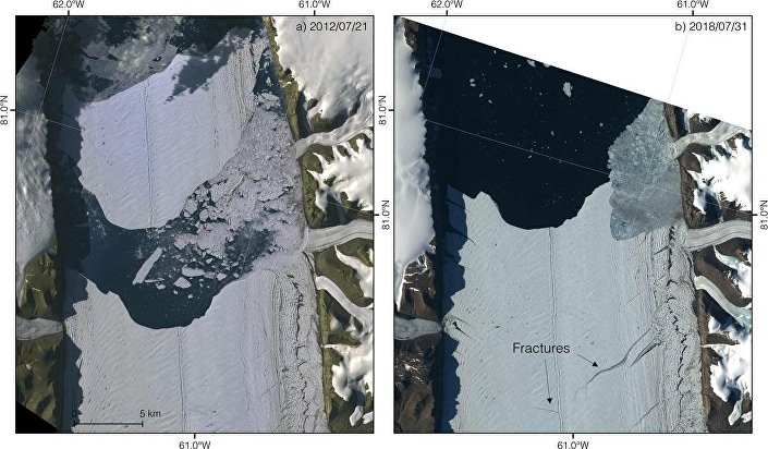 Enorme ilha de gelo está se soltando da geleira Peterman, no noroeste da Groenlândia